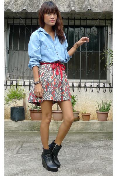 blue vintage shirt - gray fashionstopshopmultiplycom skirt - black Soule Phenome