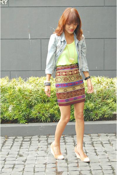 brown thrifted skirt - off white bone OS bracelet
