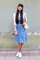 ivory leather vintage bag - blue denim pinafore Zara dress