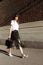 black suede Zara skirt - black leather Topshop bag - white cotton H&M t-shirt
