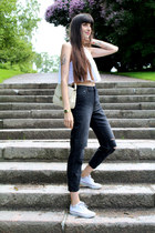 white guipur crop Zara top - black H&M jeans - off white leather vintage bag