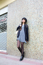navy porkpie Topman hat - navy fluid Zara dress - navy leather vintage jacket