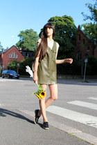 olive green leather Zara dress - ivory leather vintage bag