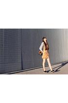 camel suede H&M dress - black vintage bag - off white stripes H&M blouse