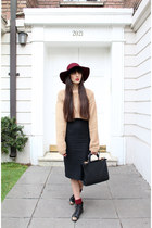 camel wool handmade sweater - black Topshop boots - brick red fedora vintage hat
