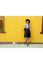 black faux leather breshka skirt - black H&M hat - black leather vintage bag