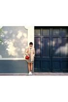trench coat Lefties coat - stripe dress Zara dress - red bag Topshop bag