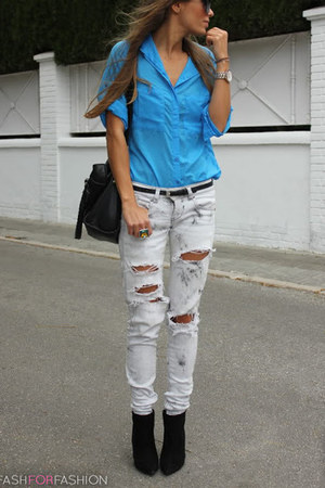 boots - jeans - bag - blouse