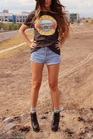 brown blouse - dark brown boots - sky blue denim shorts shorts
