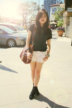 light pink Forever 21 shorts - black tri-blend American Apparel t-shirt