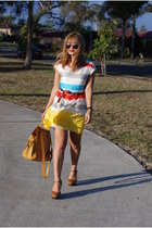 mustard croc asos bag - yellow stripe Into Fashions dress