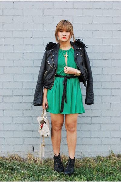 Black Leather Topshop Jackets, Green Mesh Topshop Dresses | It's