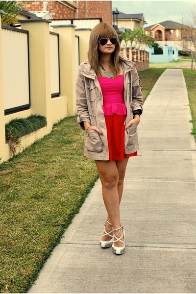 white studded Wittner shoes - hot pink strappless Topshop dress