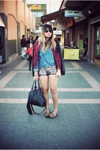 gold Sheinside shorts - maroon Stussy jacket - blue vintage shirt