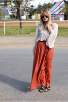 carrot orange maxi River Island skirt - cream chiffon mink top
