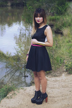 black asos dress - black Jeffrey Campbell boots - hot pink asos belt