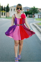purple Zara heels - hot pink chiffon Stylist dress