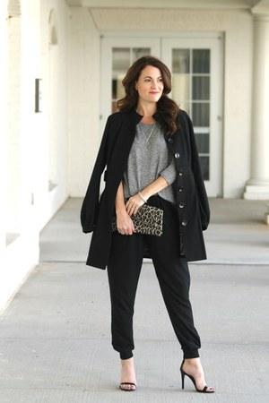 black black wool coat Nordstrom coat - leopard clutch Clare Vivier bag