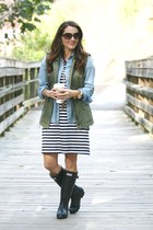 army green military vest Nordstrom vest - navy Hunter boots