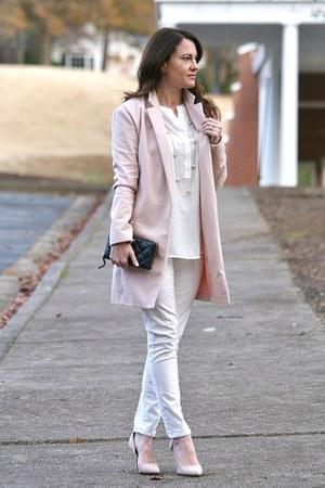 light pink pink coat Sheinside coat - cream Nordstrom blouse