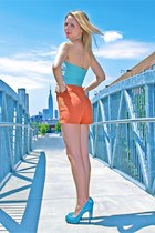 carrot orange high-waisted Forever 21 shorts - turquoise blue vintage top - turq