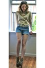 Gold-satin-ann-taylor-shirt-light-blue-jean-lei-shorts-gold-vintage-necklace