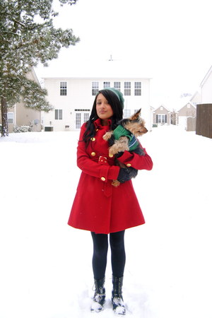 red Forever 21 coat - black Dolce Vita boots - Forever 21 dress