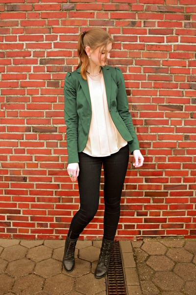 light pink H&M blouse - black görtz boots - navy Esprit jeans - teal we blazer