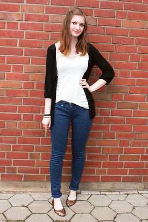 blue Mango jeans - black Topshop cardigan - eggshell lace Primark top