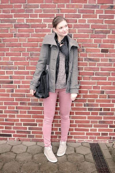heather gray Only coat - black faux leather Primark jacket - black vintage bag