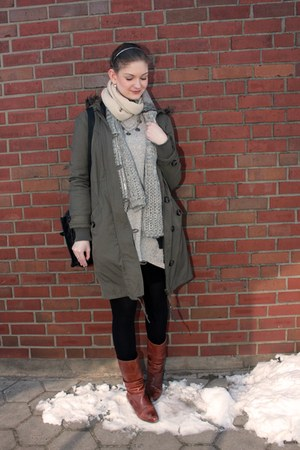 heather gray River Island dress - tawny görtz boots - army green Oasis jacket