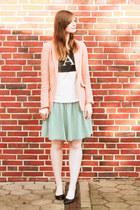 light blue denim Monki skirt - peach H&M blazer - light pink asos t-shirt