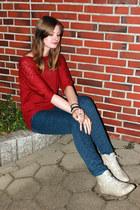 blue Mango pants - ivory grtz boots - brick red suiteblanco jumper