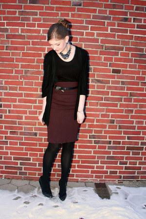 black H&M shirt - black Topshop cardigan - crimson Hallhuber skirt
