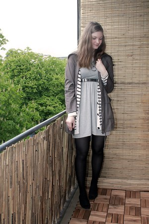 heather gray Primark dress - army green Primark jacket - white Monki cardigan