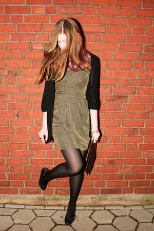 black vintage bag - gold H&M dress - crimson lace Vero Moda blouse
