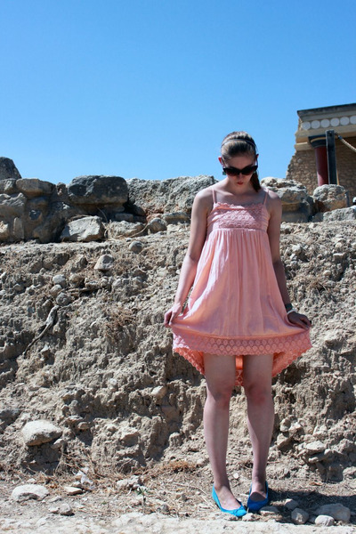 light orange Cubus dress - black asos sunglasses - blue H&M flats