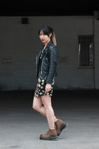 Mirage Leathers jacket - Dr Martens boots - sunflower dress Wet Seal dress