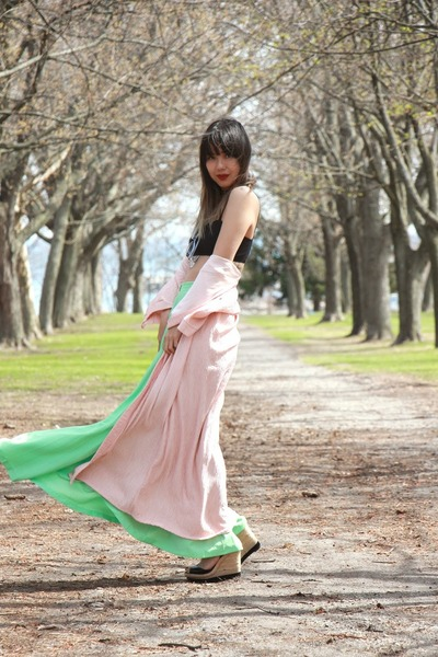 mint maxi skirt American Apparel skirt - Choies sunglasses - La Senza cardigan