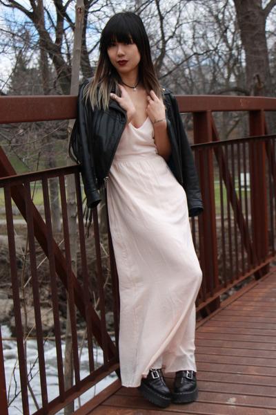 Harley Davidson jacket - aggy strap Dr Martens boots - Forever 21 dress