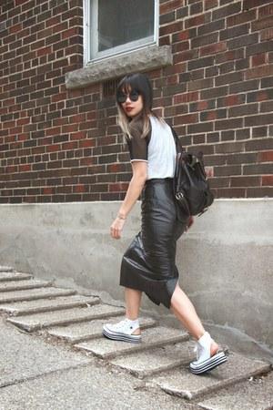 vintage skirt - raglan tee romwe shirt - Converse sneakers