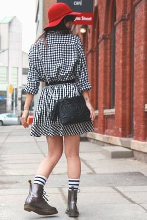 quilted clutch H&M bag - pewter docs Dr Martens boots - Joe Fresh shirt