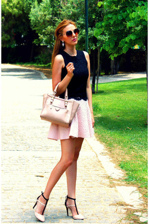 black Zara top - light pink BSB skirt