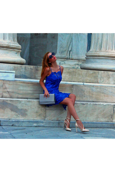 blue lace Zara dress