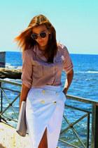 white pencil skirt Zara skirt - peach shirt
