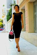 black lace Guess top - black pencil skirt Topshop skirt