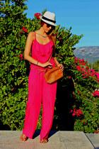 white asos hat - hot pink paranoia bodysuit