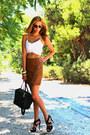 Tawny-faux-leather-zara-skirt