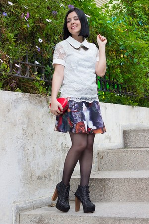 romwe skirt - Rosewholesale bag - Zealotries necklace - Sheinside blouse