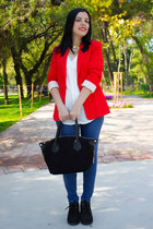 Mango blazer - İnci Deri shoes - İnci Deri bag - Vatenocom blouse